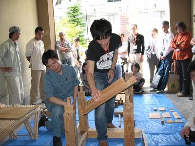 藤間棟梁による木組みワークショップ