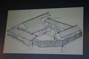 (幾つかの建物が連なって中庭を取り囲むように建つ計画)